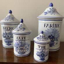 Load image into Gallery viewer, Shop these vintage hand painted blue & white canisters made in France at Federal & Black.
