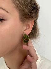 Load image into Gallery viewer, Shop the Margaux Vintage Velvet Knot Post Earrings in Olive at Federal & Black