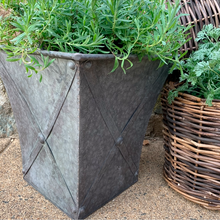 Load image into Gallery viewer, Square Metal Planter w/ Zinc Style Finish