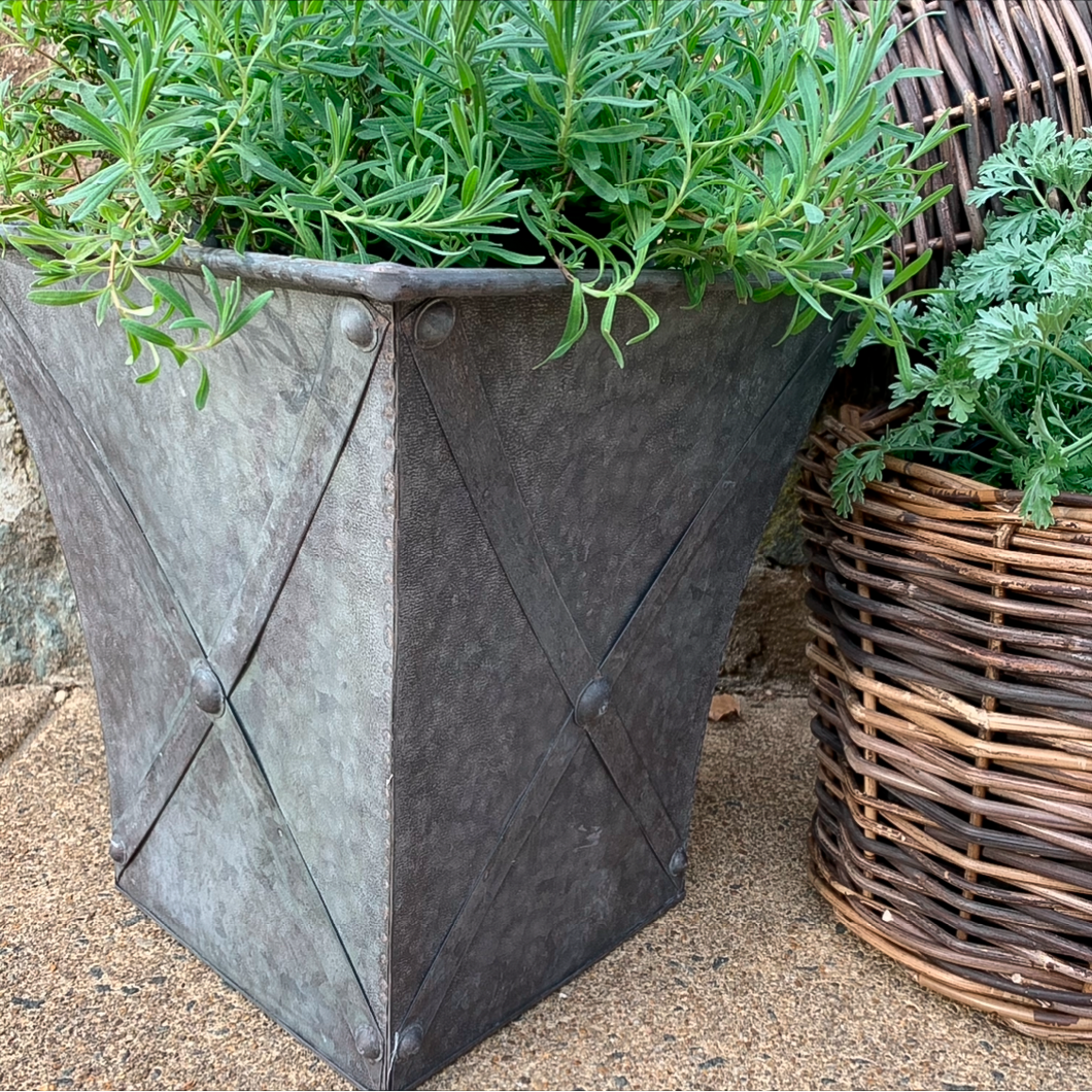 Square Metal Planter w/ Zinc Style Finish