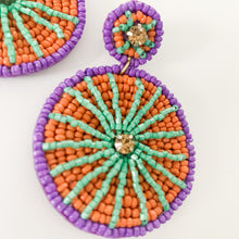 Load image into Gallery viewer, Shop the Purple, Red & Green Beaded Circle Earrings at Federal & Black