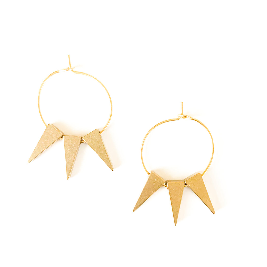 Shop the David Aubrey 18k gold plated spike hoops at Federal & Black