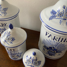 Load image into Gallery viewer, Shop these vintage hand painted blue & white canisters made in France at Federal & Black