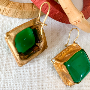 Brass & Green Stone Drop Earrings