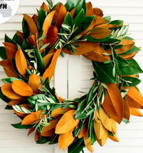"Load image into Gallery viewer, Shop our fresh 20"" Magnolia & Olive Branch Wreaths at Federal & Black"