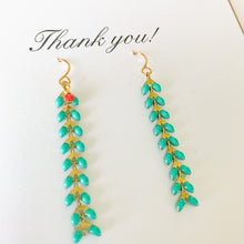 Load image into Gallery viewer, Shop this pair of Aqua Chevron Drop Earrings and Thank You greeting card and others at FederalandBlack.com