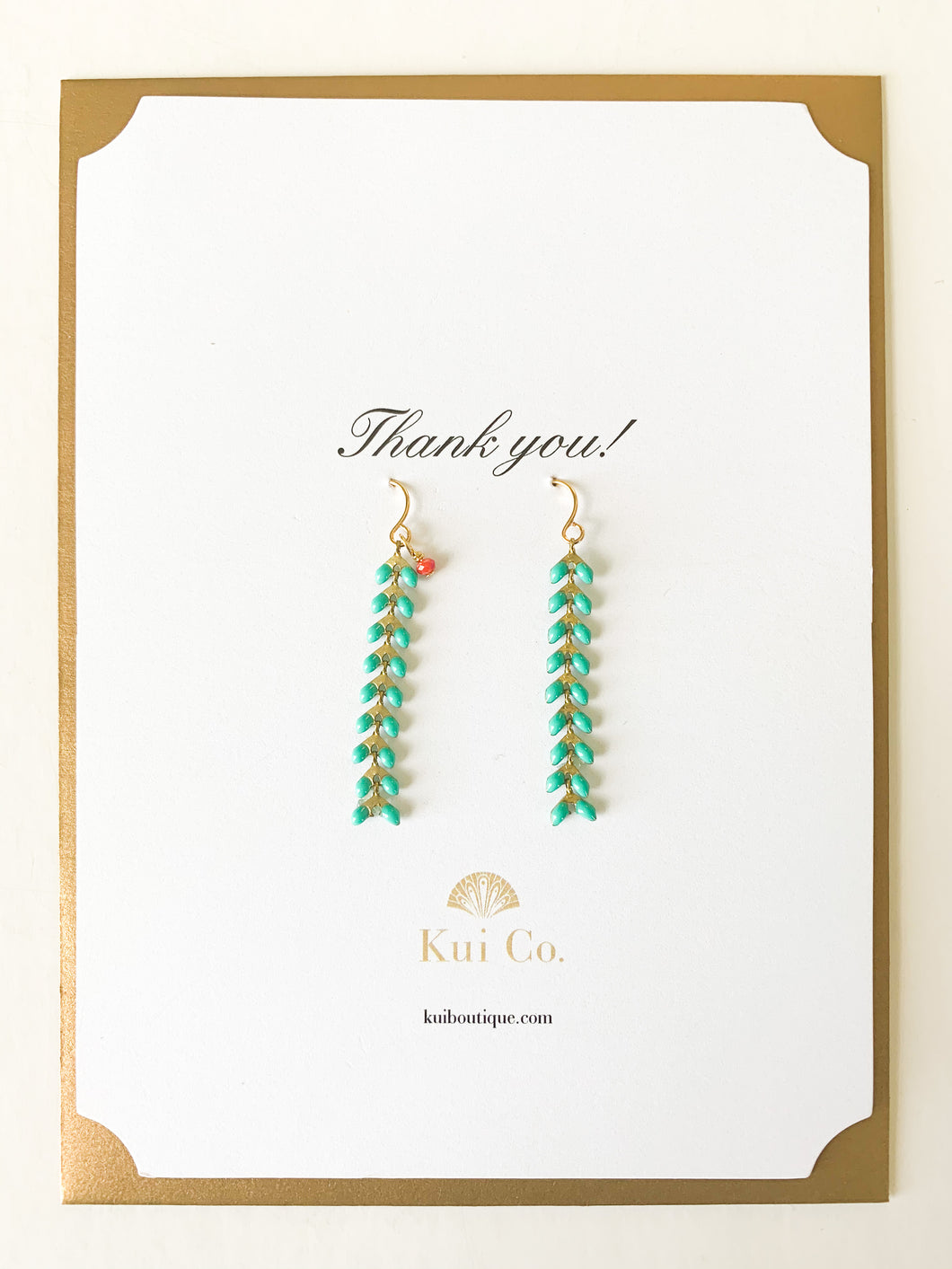 Shop this pair of Aqua Chevron Drop Earrings and Thank You greeting card and others at FederalandBlack.com