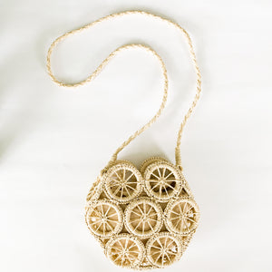 Shop the Hexagon Handwoven Straw Bag in Bleached Natural at Federal & Black