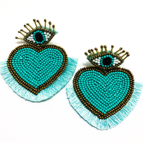 Shop the Turquoise Beaded Evil Eye & Heart Post Earrings at Federal & Black