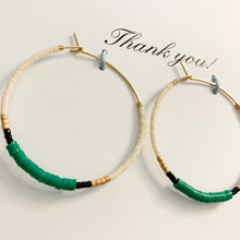Load image into Gallery viewer, Shop beaded hoop earrings in green, black & white on Thank You greeting card at FederalandBlack.com