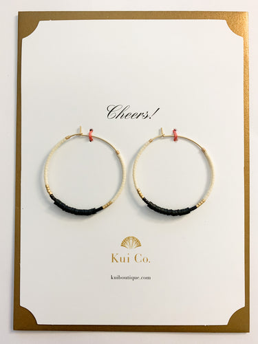 Shop beaded hoop earrings in black, ivory & gold on Cheers greeting card at FederalandBlack.com