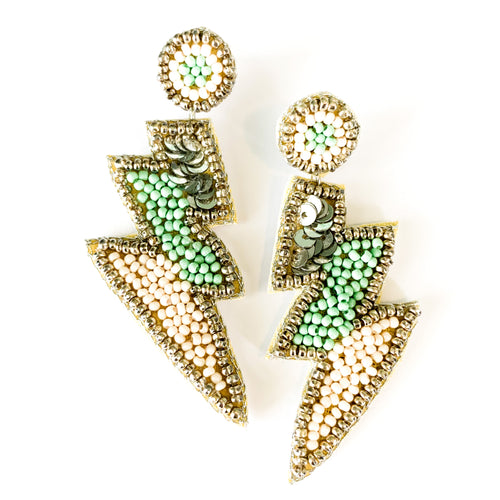 Shop the Beaded Rocker Lightning Bolt Earrings in mint green, ivory & silver at Federal & Black