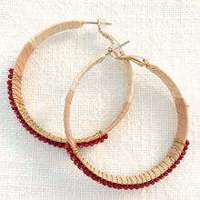 Load image into Gallery viewer, Shop our beaded raffia wrapped hoops in burgundy at Federal & Black
