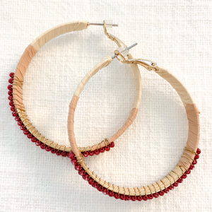 Shop our beaded raffia wrapped hoops in burgundy at Federal & Black