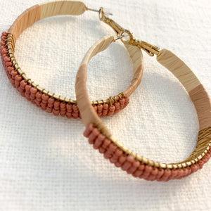 Shop our beaded raffia wrapped hoops in dusty rose pink at Federal & Black