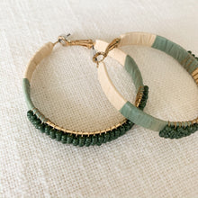 Load image into Gallery viewer, Shop our beaded raffia wrapped hoop earrings in green at Federal & Black