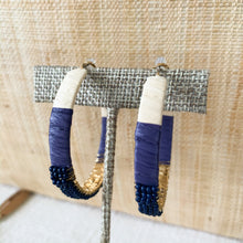 Load image into Gallery viewer, Shop our beaded raffia wrapped hoops in navy at Federal & Black