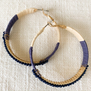 Shop our beaded raffia wrapped hoops in navy at Federal & Black