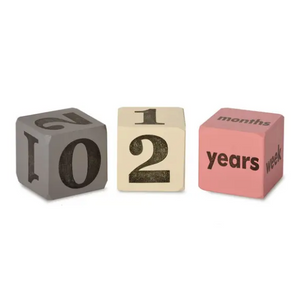 Milestone Wooden Blocks in Pink & Grey