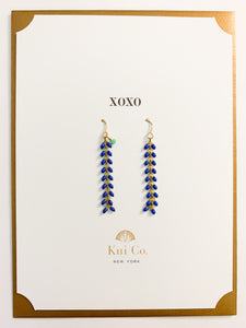 Shop blue chevron drop earrings on XOXO greeting card and others at FederalandBlack.com