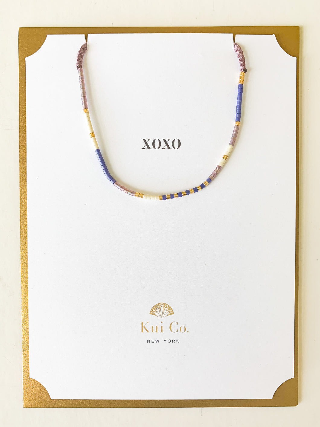 Shop this blue & lilac beaded bracelet XOXO greeting card at FederalandBlack.com