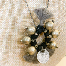 Load image into Gallery viewer, Shop the Boho Coin Necklace in Black & Silver, handmade by women in New Delhi, at Federal & Black
