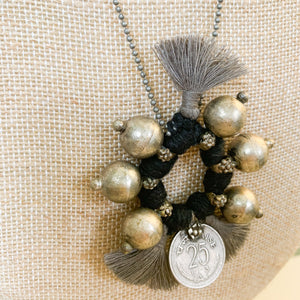 Shop the Boho Coin Necklace in Black & Silver, handmade by women in New Delhi, at Federal & Black