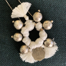 Load image into Gallery viewer, Shop the Boho Necklace in White & Silver, handmade by women in New Delhi, at Federal & Black