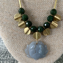 Load image into Gallery viewer, Shop the sizzling hot Brass & Jade Necklace with Lotus Agate Pendant  by David Aubrey at Federal & Black