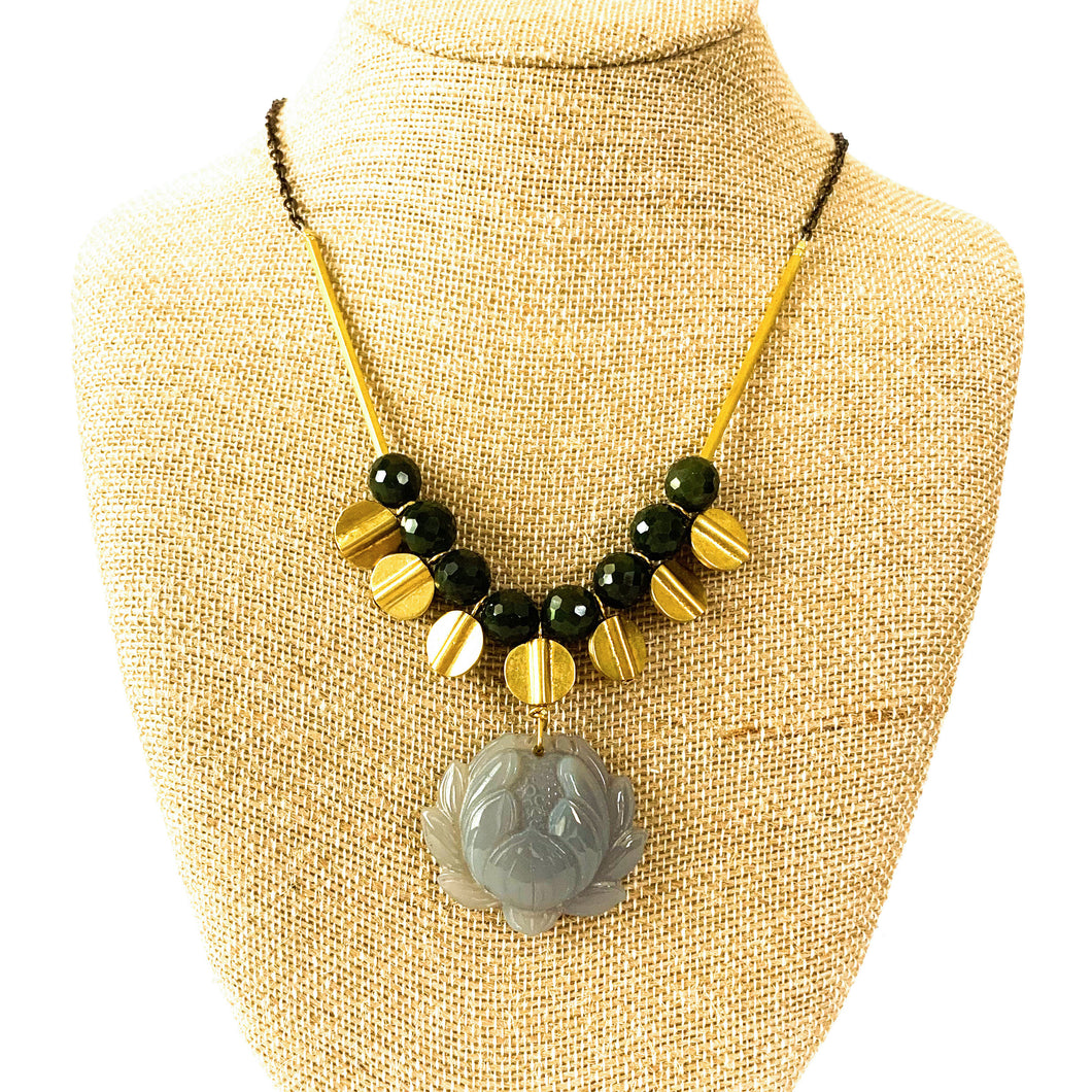 Shop the sizzling hot Brass & Jade Necklace with Lotus Agate Pendant  by David Aubrey at Federal & Black