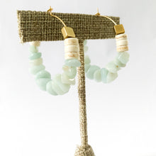 Load image into Gallery viewer, Brass & Aqua Stone Hoops
