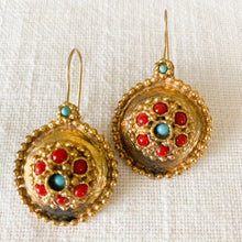 Load image into Gallery viewer, Shop brass turquoise & coral handmade drop earrings at Federal & Black