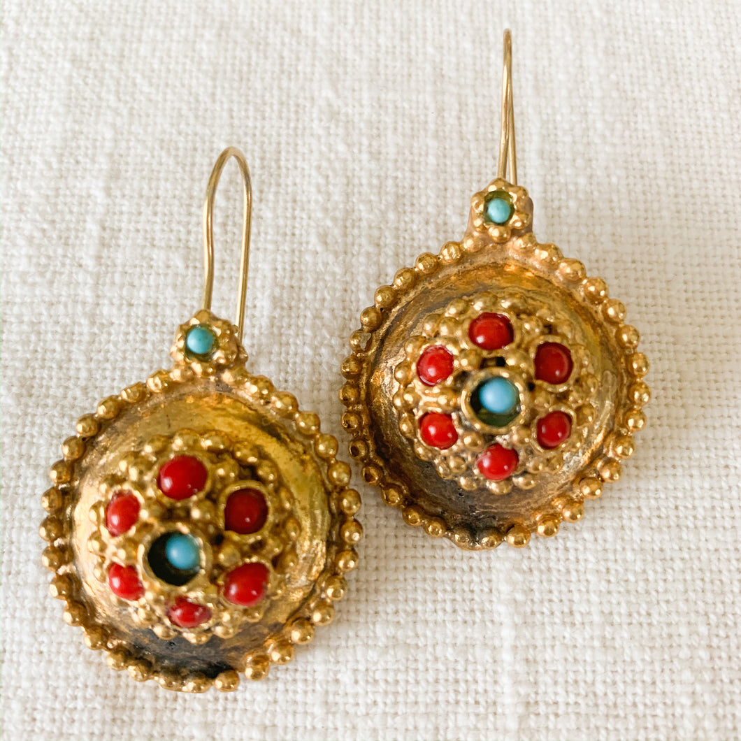 Shop brass turquoise & coral handmade drop earrings at Federal & Black