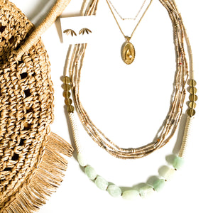 Fringe Trim Circle Straw Bag in Natural
