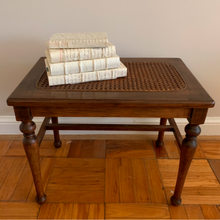 Load image into Gallery viewer, Sweet vintage French Provincial style wood bench with cane seat.