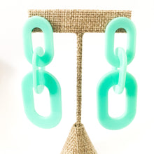 Load image into Gallery viewer, Shop the Mint Acrylic Oval Link Earrings at Federal & Black