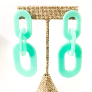 Shop the Mint Acrylic Oval Link Earrings at Federal & Black