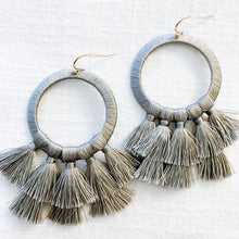 Load image into Gallery viewer, Shop our Circle & Tassel Drop Earrings in Grey at Federal & Black