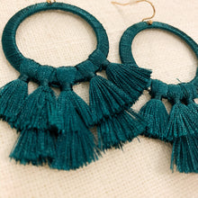 Load image into Gallery viewer, Shop our thread wrapped circle & tassel earrings in emerald green at Federal & Black