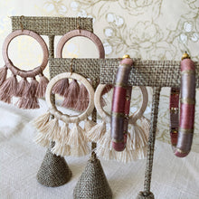 Load image into Gallery viewer, Shop our thread wrapped circle & tassel earrings in dusty pink at Federal & Black