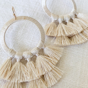 Shop thread wrapped circle tassel earrings in Ivory at Federal & Black