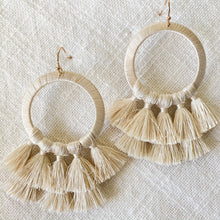Load image into Gallery viewer, Shop thread wrapped circle tassel earrings in Ivory at Federal & Black