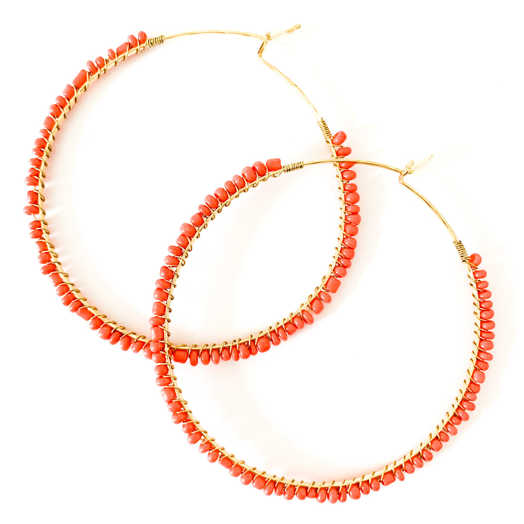 Shop the Coral & Gold Seed Bead Hoop Earrings at Federal & Black
