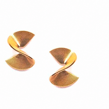 Load image into Gallery viewer, Shop the Brass Ribbon Stud Spiral Earrings by Michelle Starbuck at Federal & Black