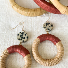 Load image into Gallery viewer, Shop the rattan & rust drop hoop earrings at Federal & Black
