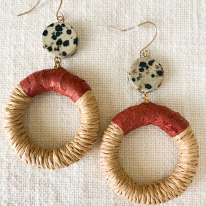 Shop the rattan & rust drop hoop earrings at Federal & Black
