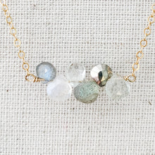 Load image into Gallery viewer, Delicate 14K Multi Inline Necklace Moonstone White Topaz & Labradorite at Federal & Black