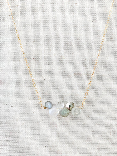 Delicate 14K Multi Inline Necklace Moonstone White Topaz & Labradorite at Federal & Black