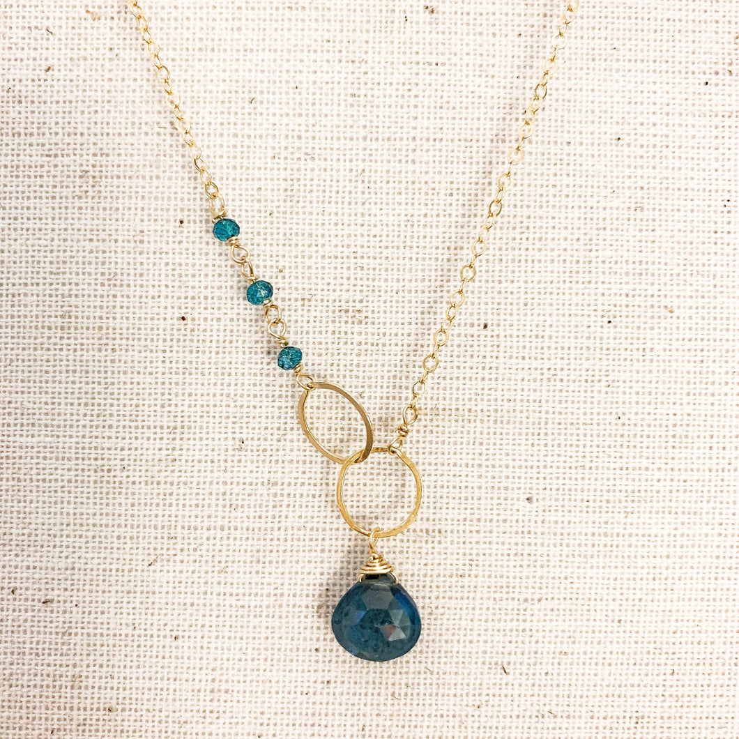 Delicate 14K Gold Blue Topaz Drop & Circle Necklace at Federal & Black