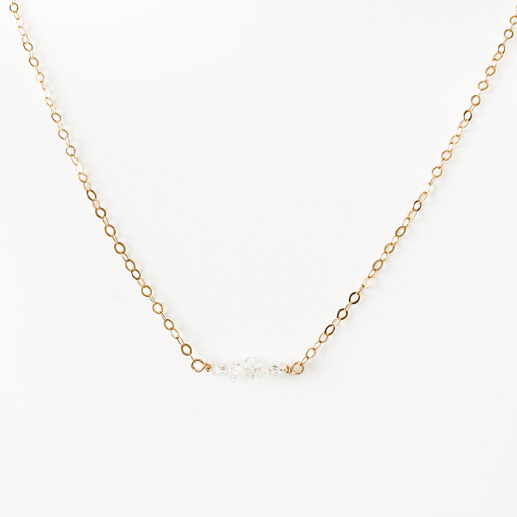 Delicate 14k gold & Herkimer Diamond necklace at Federal & Black
